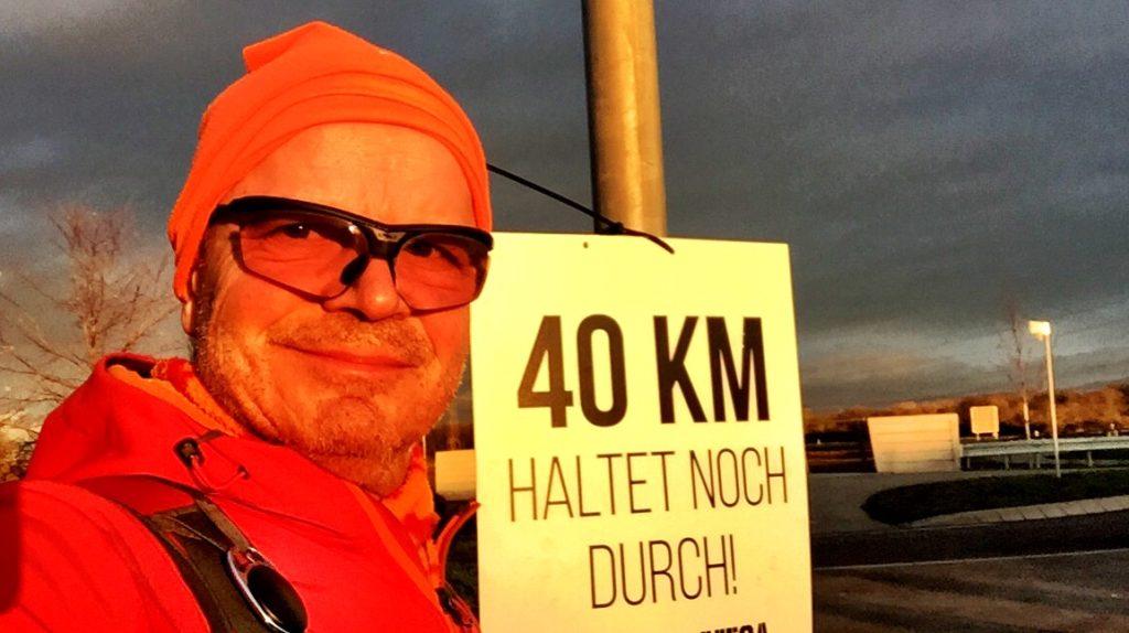 40 Kilometer noch, durchhalten,