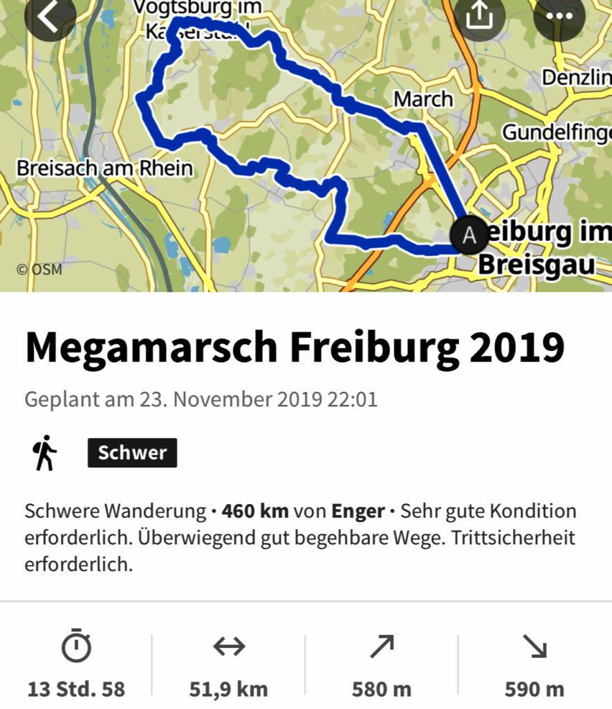 Strecke Planung Megamarsch Freiburg 2019