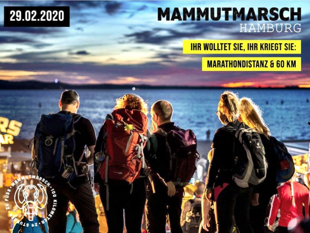 Mammutmarsch Hamburg, 60 Kilometer, Marathondistanz, Ankündigung