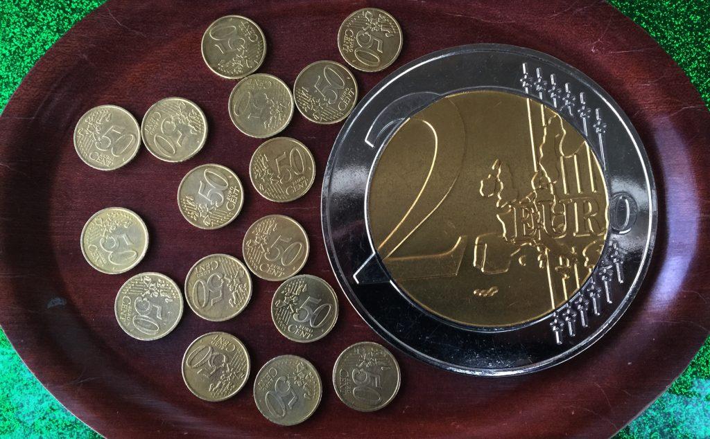 17 Münzen, 50-Cent Stücke, Rieseneuro,