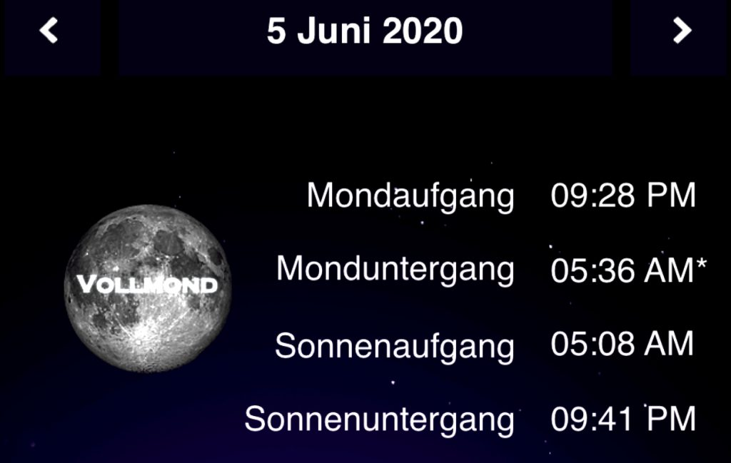 Mondaufgangszeiten Sonnaufgangszeiten