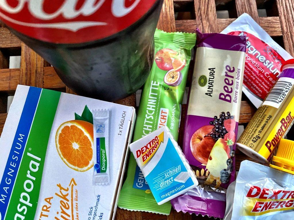 Fruchtschnitte Rucksackverpflegung Cola PowerBar Magnesium Diasporal