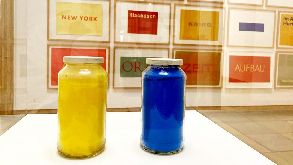 Gelb und Blau, Pigmente im Glas, Museum Haus der Kunst München