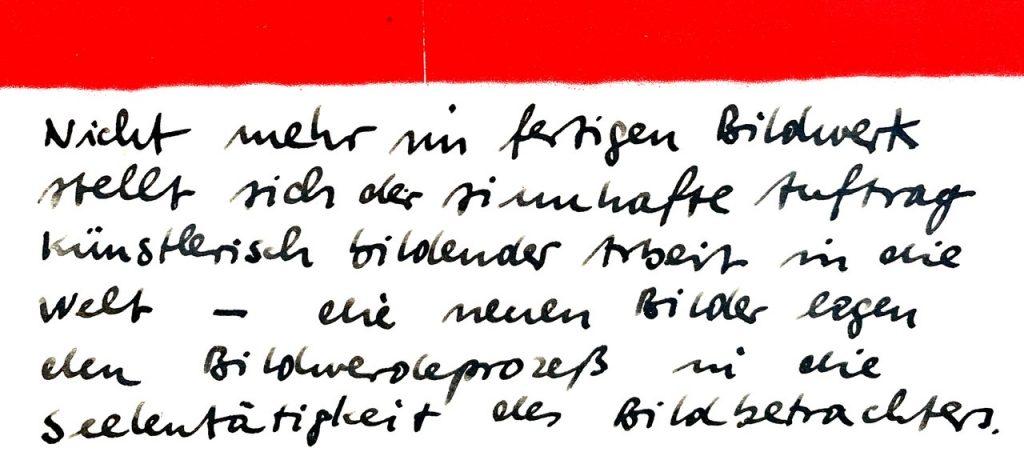 Handschriftliche Notiz, Zitat Rudolf Steiner