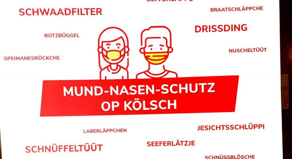 Plakat abbildung zuMund-Nasen-Schutz op Kölsch
